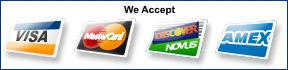 We accept MasterCard VISA Discover and American Express